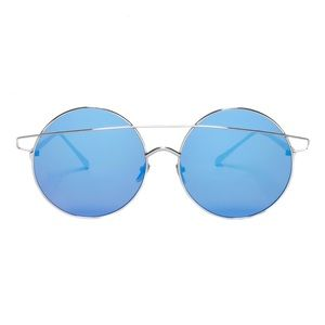 Accessories - Blue/Silver Round Oversized Sunglasses